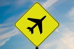 飞机小心符号 免版税图库摄影