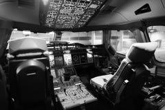 飞机座舱内部 免版税库存照片