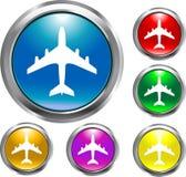 飞机按钮 免版税库存图片