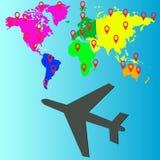 飞机旅行设计,传染媒介例证 免版税库存照片