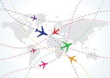 飞机映射旅行世界 库存图片