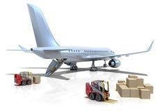 飞机机场铲车装载 向量例证
