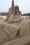 飞机查尔斯他的lindbergh sandsculpture 库存图片