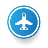 飞机标志,蓝色按钮 免版税图库摄影