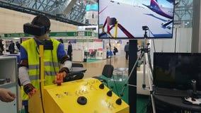 飞机梯子驾驶的工业模拟器被展示在陈列