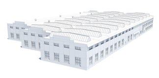 飞机棚大厦 白色导线框架 库存图片