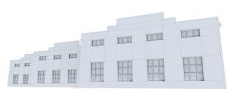 飞机棚大厦 白色导线框架 免版税库存图片