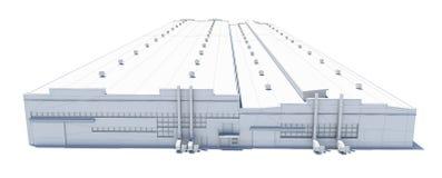 飞机棚大厦 白色导线框架 库存照片
