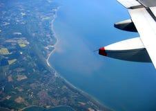 飞机海岸线视图 免版税库存图片