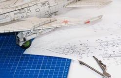 飞机特写镜头塑造 库存图片