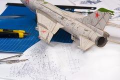 飞机特写镜头塑造 库存照片