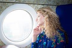 飞机的妇女 免版税库存照片