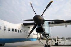 飞机的推进器有飞机的 免版税图库摄影