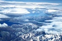 从飞机的看法在南阿尔卑斯山,新西兰 库存照片
