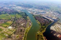 从飞机的阿姆斯特丹鸟瞰图 免版税图库摄影