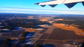 从飞机的稻田 库存照片