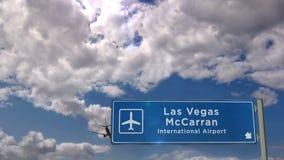 飞机着陆在拉斯维加斯McCarran内华达 股票录像