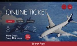 飞机票飞行售票概念 免版税库存图片