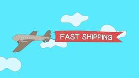 飞机穿过与快速地运输`横幅-无缝的圈的`的云彩 库存例证
