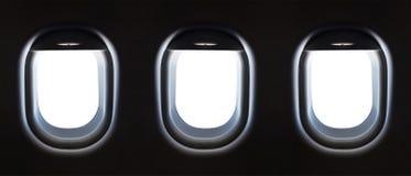 飞机窗口和空间您的设计的, 3平面窗口, clipp 免版税库存照片