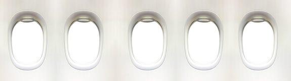 飞机窗口和空间您的设计的, 5平面窗口, clipp 库存照片