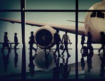 飞机航空器机场商务旅游飞行运输Conce 免版税库存照片