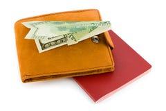 飞机货币护照钱包 免版税库存照片