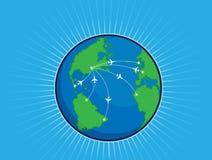 飞机途径环球地球 库存照片