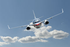 飞机飞行喷气机 免版税库存照片