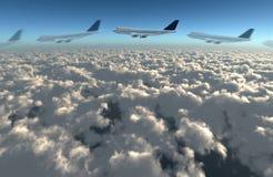 飞机飞行路径 免版税库存图片