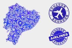 飞机马赛克传染媒介厄瓜多尔地图和难看的东西邮票 库存例证