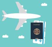 飞机,护照背景 库存例证