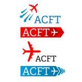 飞机-传染媒介商标模板概念例证 最小的经典样式 航空器运输公司的剪影标志 免版税库存照片
