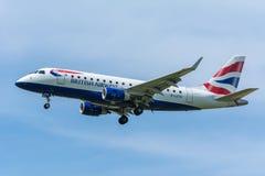 飞机BA CityFlyer G-LCYG巴西航空工业公司ERJ-170 库存照片