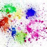 飞溅五颜六色的墨水在白色背景 免版税图库摄影
