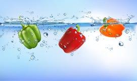 飞溅入蓝色清楚的水飞溅健康食品饮食生气勃勃概念被隔绝的白色背景的新鲜蔬菜 皇族释放例证
