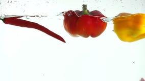 飞溅在水中的新鲜蔬菜在黑背景 股票录像