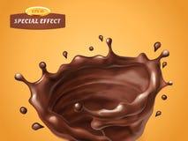 飞溅旋转被隔绝的巧克力奶油或调味汁在橙色背景 传染媒介特别流程作用 液体波浪与 皇族释放例证