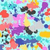 飞溅无缝的样式难看的东西五颜六色的手拉的浪花纹理传染媒介例证 免版税库存图片