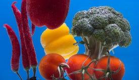 飞溅果子在水 被射击的新鲜的水果和蔬菜,他们淹没了在水下 图库摄影