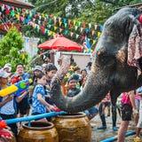 飞溅水的大象在Songkran节日期间在2013年4月13日在阿尤特拉利夫雷斯,泰国 库存图片