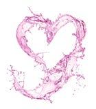从水飞溅的心脏与泡影 免版税库存照片