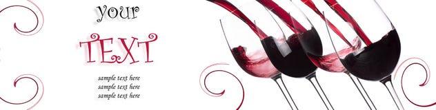 飞溅背景的红葡萄酒与范例文本 免版税图库摄影