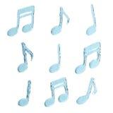 水飞溅,音乐符号集 免版税库存照片