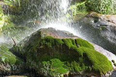飞溅水在一个绿色岩石 免版税库存图片