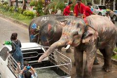 飞溅水的大象在Songkran天在泰国。 库存照片