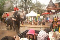 飞溅水的大象在Songkran天在泰国。 图库摄影