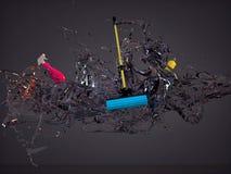 飞溅水被混合的拖把,浪花,瓶清洁剂 免版税库存图片