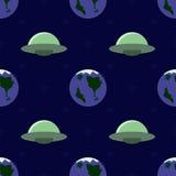 飞碟和行星无缝的样式 皇族释放例证