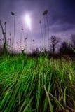 飞碟飞行发出光线-夜满月风景 免版税库存图片